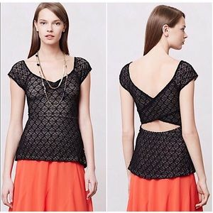 NWT ANTHROPOLOGIE Deletta Lace Peplum Top